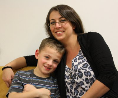 Photo of duchenne muscular dystrophy patient Sam with mum Emma