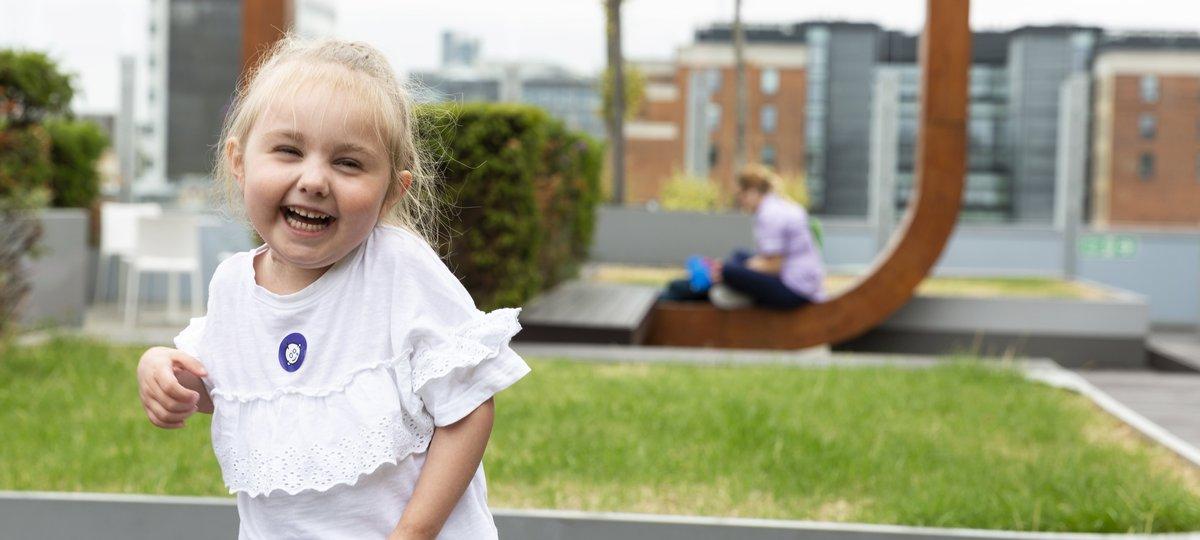 Esme in the hospital garden