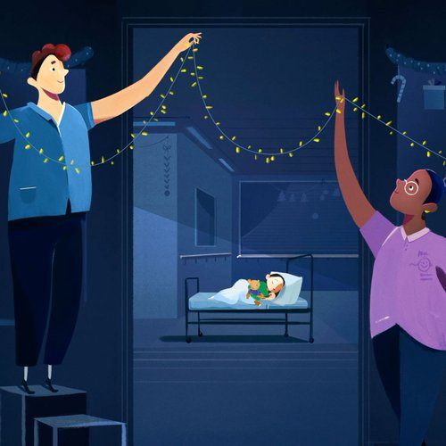 Still from animation showing GOSH staff decorating the hospital wards