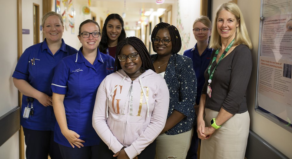 Patient Rue with the GOSH research team