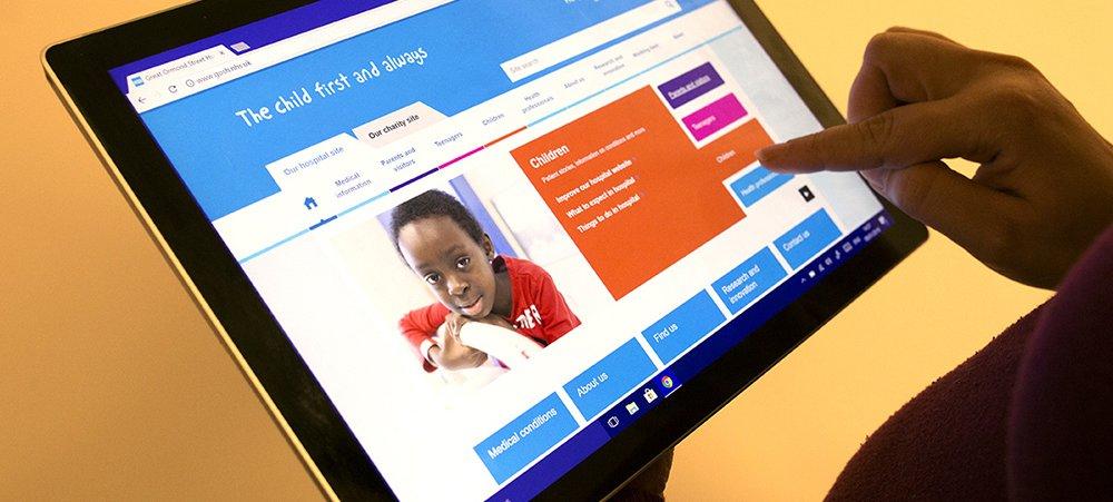 Website displayed on tablet