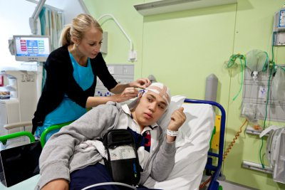 A patient being set up for an EEG
