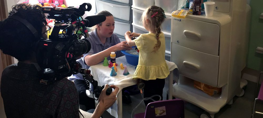 Esme and her play worker, Kimberley, during filming for Paul O'Grady's Little Heroes