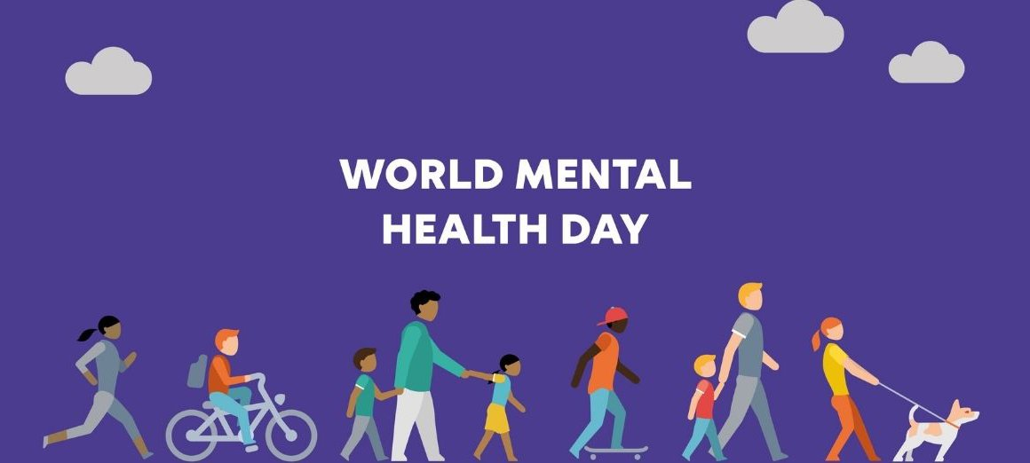 world mental health day sign with clouds and illustrations of people outside