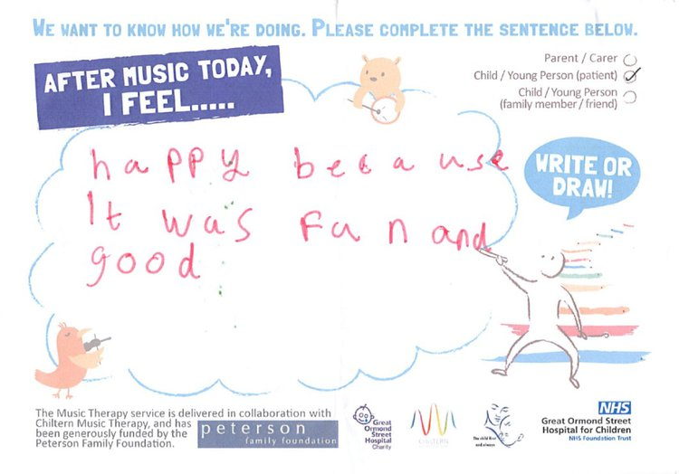 Example of feedback for music therapy