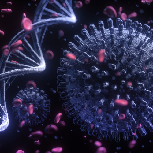 Cartoon image of blood cells, DNA and circulating viruses