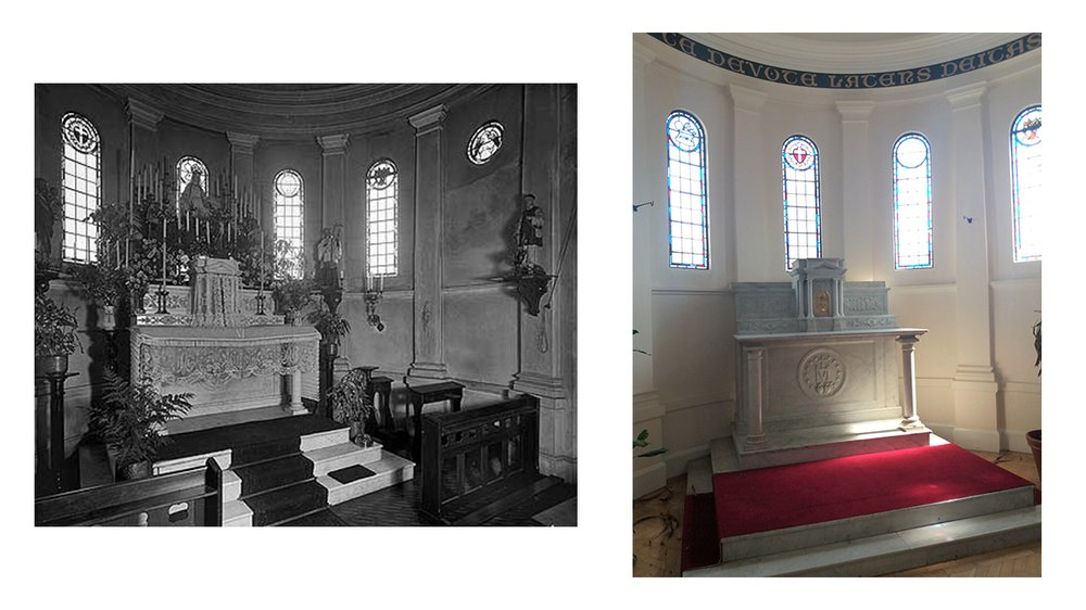 The altar in 1903 (left) and 2019 (right)